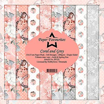Dixi Craft Coral and Grey 6x6 Inch Paper Pack