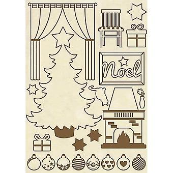 スタンパリア木製の形A5クリスマスホーム