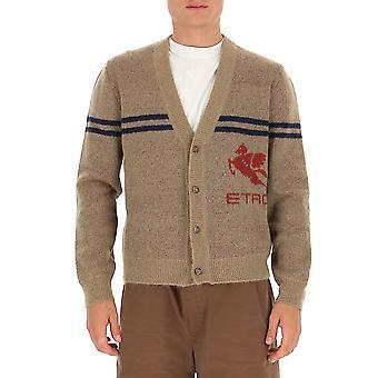 Etro 1n30996770800 Men's Brown Wool Cardigan