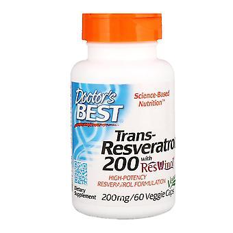 Doctor's Best, Trans-Resveratrol 200  with Resvinol, 200 mg, 60 Veggie Caps