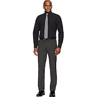 """BUTTONED DOWN Men's Classic Fit Button Collar Solid Pocket Options, Black 17"""" Neck 35"""" Sleeve"""