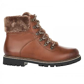 Remonte Brown Tan Hiker Inspired Lace Up Ankle Boot With Fuax Fur Trim
