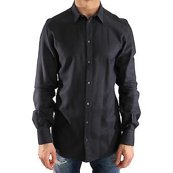 Dolce & Gabbana Blue Dress Gold Slim Fit Cotton Shirt TSH2012-1