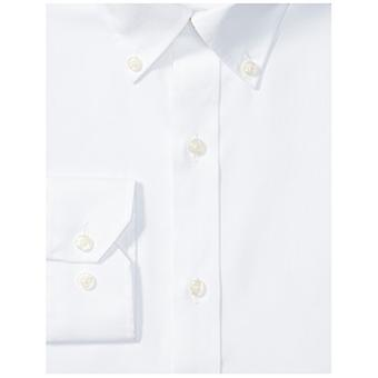"""BUTTONED DOWN Men's Tailored Fit Button-Collar Solid Non-Iron Dress Shirt (No Pocket), White, 16"""" Neck 33"""" Sleeve"""
