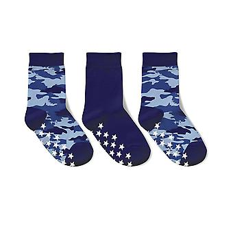3-pak Skridsikre sokker blå camouflage 25/27