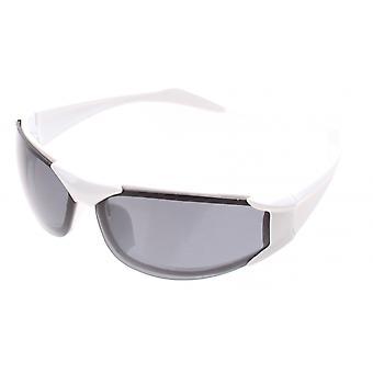 sportzonnebril unisex wit half frame met grijze lens