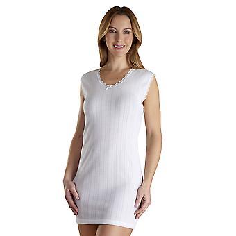 Slenderella VUW805 Women's Vedonis White Cotton Thermal Knit Long Sleeveless Top