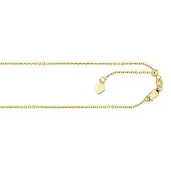 14k geel goud 0,9 mm Sparkle Cut Klassieke verstelbare kabelketting ketting sieraden geschenken voor vrouwen - Lengte: 22 tot 30