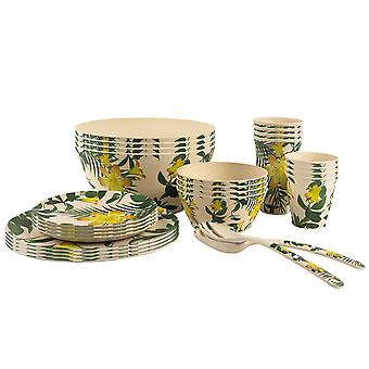 Nicola Spring Eco-Friendly Bamboo Dinner Set - Plates Bowls Cups Salad Servers - 6 Person - Tropical