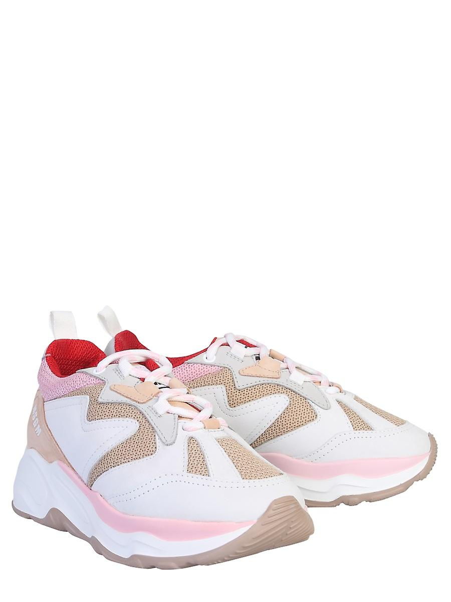 Msgm 2741mds208670423 Women's White/pink Leather Sneakers