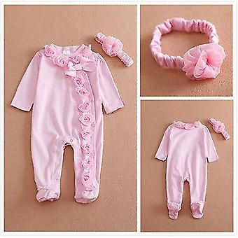 Newborn Baby Girls Long Sleeve Romper Three-dimensional Flower Bodysuit Clothes Outfits Set Attached Headband