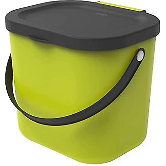 Rotho Albula Papelera orgánica 6l con tapa y asa para la cocina, plástico (PP) libre de BPA, verde claro/antracita, 6l (23,5 x 20,0 x 20,8 cm)