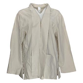 WynneLayers Women's Plus Essential Knit Crepe Blazer Beige 618-151
