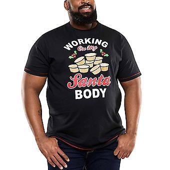 Duke D555 Hombres Big Tall King Size Holly Chrismas Novelty Camiseta Top Tee - Negro