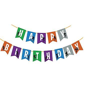 Kids Party Supplies Banner Child Birthday Fortress Night Flat