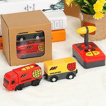 Fjernbetjening RC Electric Train Legetøj Sæt Kid Slot Bil forbundet med træ jernbanespor til stede for børn