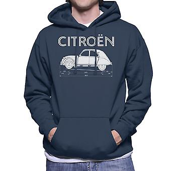 Citro?n 2CV Dimensions White Diagram Men's Hooded Sweatshirt