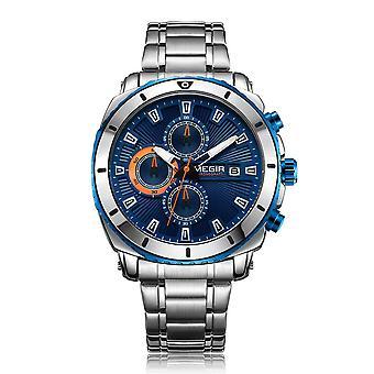MEGIR 2075 Business Style Chronograph Leuchtendes Datum Display Armband Verschluss Stahl