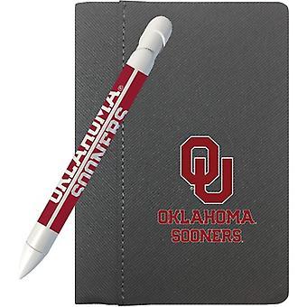 """1109M, Lápiz de saludo Oklahoma Sooners 4""""X 6"""" Notebook y 1 juego de plumas de mensaje giratorio (1109M)"""