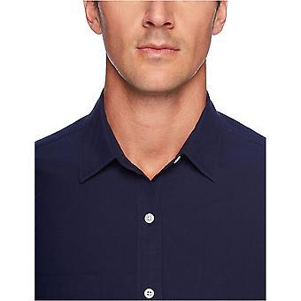 Essentials Hombres's Regular-Fit Camisa Poplin Casual Sólida de Manga Larga, azul marino, Grande