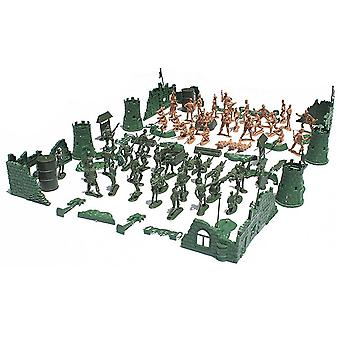 Plastic Army Men Action Figures Battle Group Military Soldier Playset +base