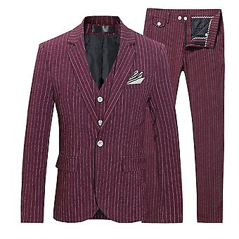 YANGFAN Men's One Button Three-piece Striped Suit