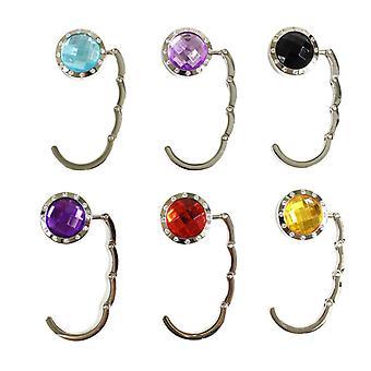 6 käsilaukunpidikkeet koukuilla ja värillisillä kristalleilla | Kannettava laukkukoukku | 6 väriä
