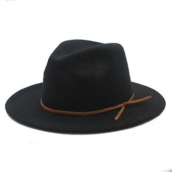 100% Wool Outback Fedora Hat With Wide Brimy Cloche Jazz Church Godfather Cap