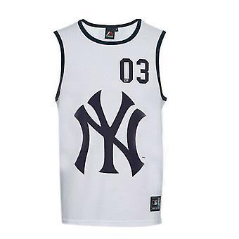 Majestic New York Yankees NYY Quayside White Navy Mens Sleeveless Vest Top RW24