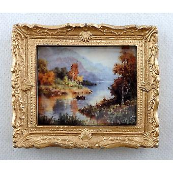 Melody Jane Dolls House Miniature Scenic Scottish Loch Painting Gold Frame