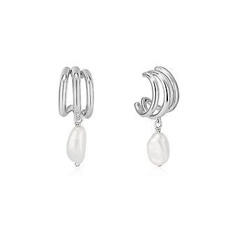 Ania Haie Rhodium Triple Mini Hoop Earrings E019-04H