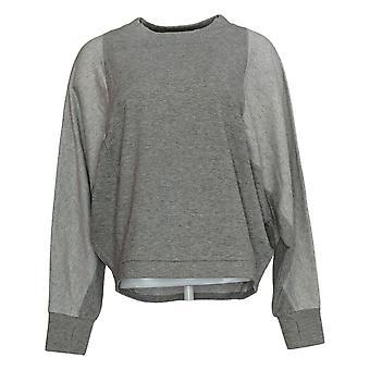 Chiunque maglione da donna scoop collo manica lunga W / thumbholes grigio A384065