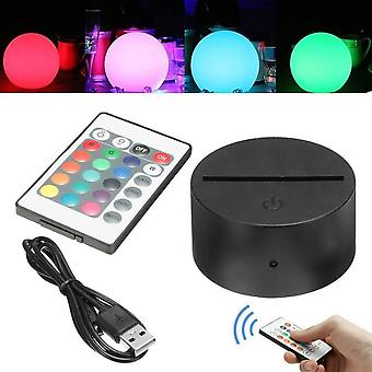 3d Led Night Light Lamp Base Stand With Power Adapter, Usb Cable & Remote