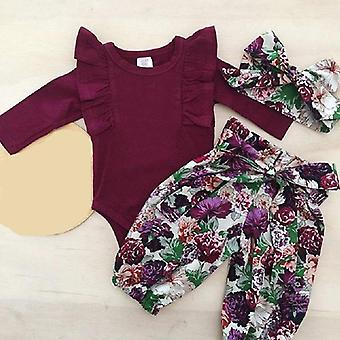 Baby Body, Floral Lace-up Hose & Kopfbedeckung Set