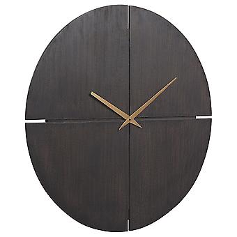 Reloj de pared redonda con respaldo de madera y diseño cortado, marrón y oro