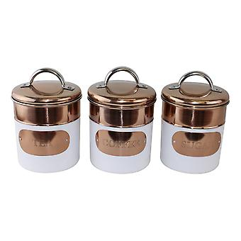 Set of 3 Tea,Coffee & Sugar Canisters, Copper & White Metal Design