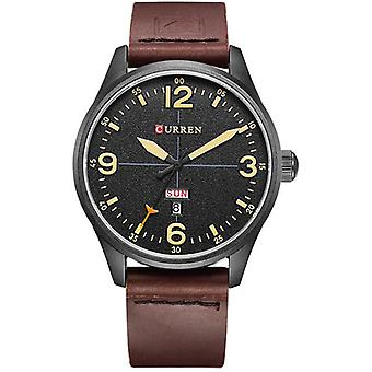 CURREN 8265 Men Sport Watch Military Leather Week Day Display Strap Casual Quar