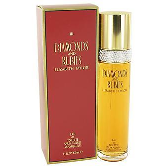 Diamantes e rubis Eau De Toilette Spray por Elizabeth Taylor 3,4 oz Eau De Toilette Spray