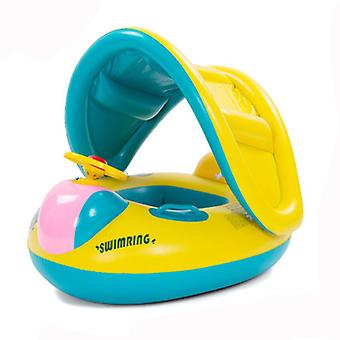Baby Pool Float med baldakin oppustelige svømning flåd til Kids Automobile Swimming Circle Air Boat