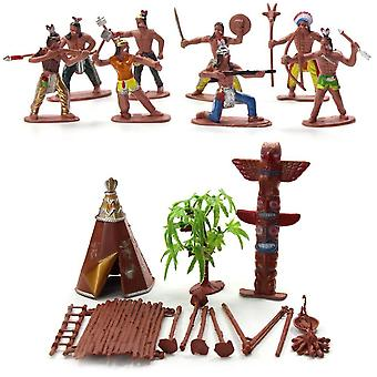 13pcs Indian Tribes Figures Model For Home/desk Decor- Diy Scenery Accessory