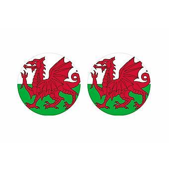 2x stick pegatina redonda cocarde bandera Gales Galesa