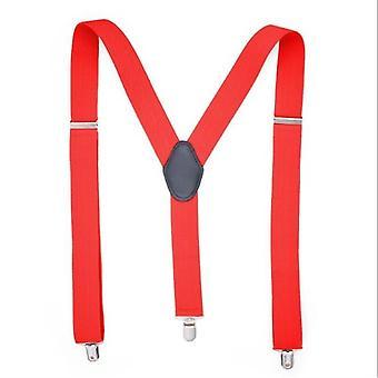 Pánské jednobarevné nastavitelné elastické popruhy typu Y pro košile, velikost: 125 x 3,5 cm (červená)