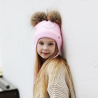 בצורת לב Rhinestones כובעי חורף עבור, כותנה עבה סרוגים אוזניים פומפום כובעים