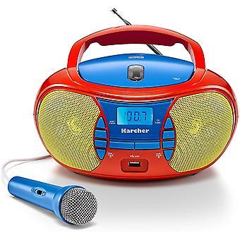 FengChun RR 5026 tragbares CD Radio - bunte Kinder-Boombox mit CD-Player, UKW Radio, USB Mikrofon -