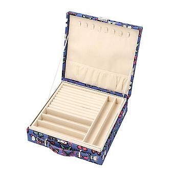Two-Tier Blue with Multi Colour Butterfly Jewellery Box with Anti-Tarnish Lining