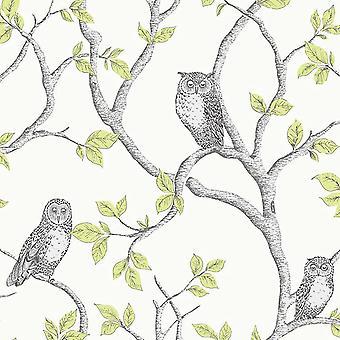 Woodland Owls Wallpaper