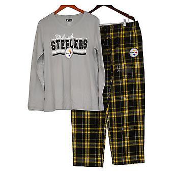 NFL Mujer Manga Larga Top &Pantalones de Franela Pijama Gris Set A387687