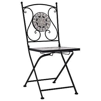 vidaXL Mosaic Bistro Chairs 2 Uds. Gris