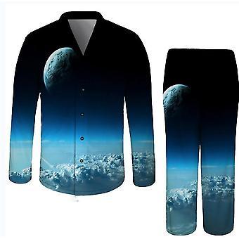 L modrá 3d tlačená dospelá osoba nočné prádlo romper x2638