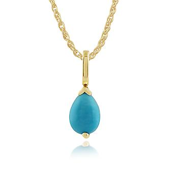 Classic Pear Turquoise Pendant Necklace in 9ct Yellow Gold 123P0117269